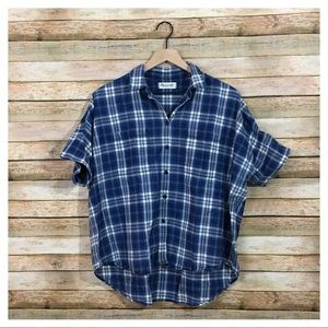 Madewell Blue Plaid Courier Shirt - Large